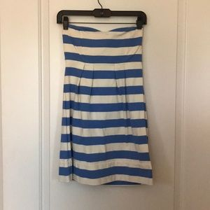 Jcrew Strapless Striped Cotton Dress